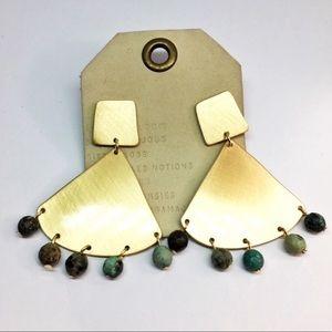 NWT Anthropologie Gold Drop Bears Earrings